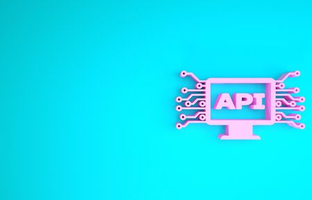 Pink Computer api interface icon isolated on blue background. Application programming interface API technology. Software integration. Minimalism concept. 3d illustration 3D render