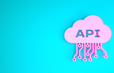 Pink Cloud api interface icon isolated on blue background. Application programming interface API technology. Software integration. Minimalism concept. 3d illustration 3D render