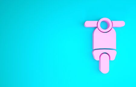 Pink Scooter icon isolated on blue background. Minimalism concept. 3d illustration 3D render