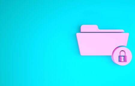 Pink Folder and lock icon isolated on blue background. Closed folder and padlock. Security, safety, protection concept. Minimalism concept. 3d illustration 3D render Stok Fotoğraf