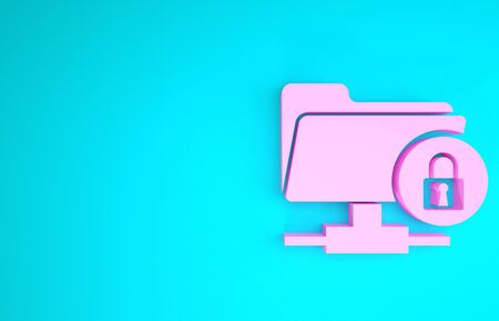 Pink FTP folder and lock icon isolated on blue background. Concept of software update, ftp transfer protocol. Security, safety, protection concept. Minimalism concept. 3d illustration 3D render