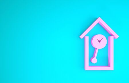 Pink Retro wall watch icon isolated on blue background. Cuckoo clock sign. Antique pendulum clock. Minimalism concept. 3d illustration 3D render