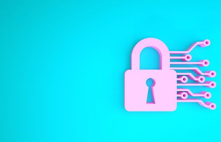 Pink Cyber security icon isolated on blue background. Closed padlock on digital circuit board. Safety concept. Digital data protection. Minimalism concept. 3d illustration 3D render