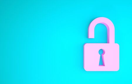 Pink Open padlock icon isolated on blue background. Opened lock sign. Cyber security concept. Digital data protection. Safety safety. Minimalism concept. 3d illustration 3D render