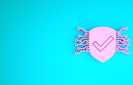 Pink Cyber security icon isolated on blue background. Shield with check mark sign. Safety concept. Digital data protection. Minimalism concept. 3d illustration 3D render Stock Photo