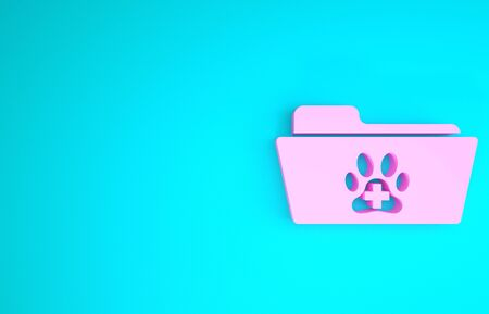 Pink Medical veterinary record folder icon isolated on blue background. Dog or cat paw print. Document for pet. Patient file icon. Minimalism concept. 3d illustration 3D render