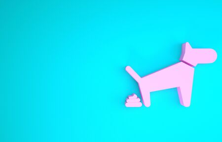 Pink Dog pooping icon isolated on blue background. Dog goes to the toilet. Dog defecates. The concept of place for walking pets. Minimalism concept. 3d illustration 3D render