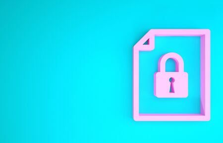 Pink Document and lock icon isolated on blue background. File format and padlock. Security, safety, protection concept. Minimalism concept. 3d illustration 3D render