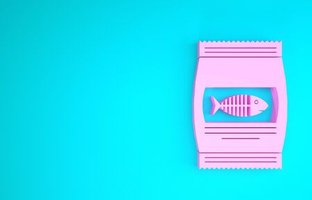 Pink Bag of food for cat icon isolated on blue background. Fish skeleton sign. Food for animals. Pet food package. Minimalism concept. 3d illustration 3D render