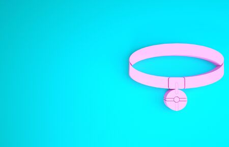 Pink Collar with name tag icon isolated on blue background. Simple supplies for domestic animal. Cat and dog care. Pet chains. Minimalism concept. 3d illustration 3D render