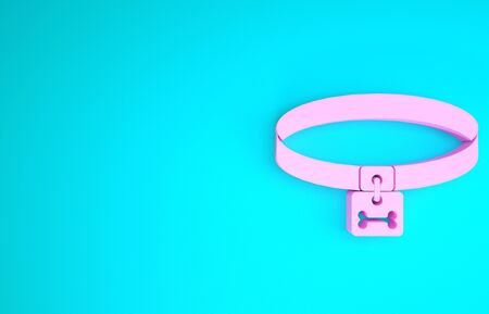 Pink Dog collar with name tag and bone plaque icon isolated on blue background. Supplies for domestic animal. Cat and dog care. Pet dog chains. Minimalism concept. 3d illustration 3D render Reklamní fotografie