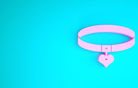 Pink Collar with name tag and heart icon isolated on blue background. Simple supplies for domestic animal. Cat and dog care. Pet chains. Minimalism concept. 3d illustration 3D render