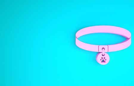Pink Collar with name tag icon isolated on blue background. Supplies for domestic animal. Dog or cat paw print. Cat and dog care. Pet chains. Minimalism concept. 3d illustration 3D render
