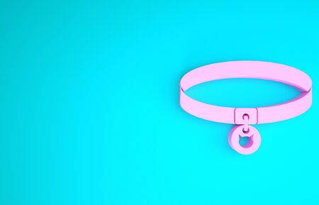 Pink Cat collar with name tag icon isolated on blue background. Simple supplies for domestic animal. Cat and dog care. Pet cat chains. Minimalism concept. 3d illustration 3D render