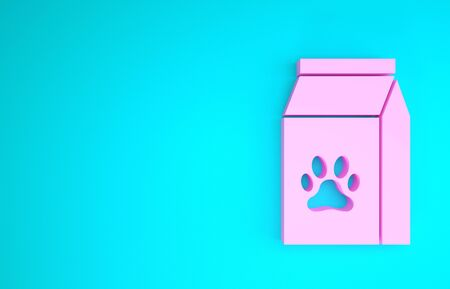 Pink Bag of food for pet icon isolated on blue background. Food for animals. Pet food package. Dog or cat paw print. Minimalism concept. 3d illustration 3D render