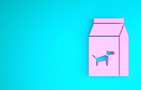 Pink Bag of food for dog icon isolated on blue background. Food for animals. Pet food package. Minimalism concept. 3d illustration 3D render