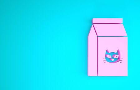 Pink Bag of food for cat icon isolated on blue background. Food for animals. Pet food package. Minimalism concept. 3d illustration 3D render