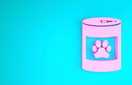 Pink Canned food icon isolated on blue background. Food for animals. Pet food can. Dog or cat paw print. Minimalism concept. 3d illustration 3D render