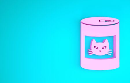 Pink Canned food for cat icon isolated on blue background. Food for animals. Pet dog food can. Minimalism concept. 3d illustration 3D render