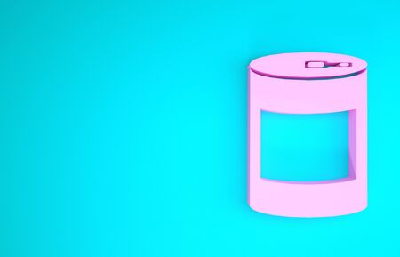 Pink Canned food icon isolated on blue background. Food for animals. Pet food can. Minimalism concept. 3d illustration 3D render 版權商用圖片