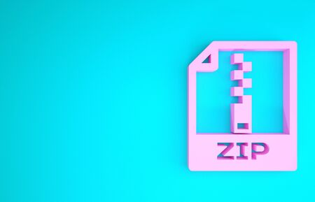 Pink ZIP file document. Download zip button icon isolated on blue background. ZIP file symbol. Minimalism concept. 3d illustration 3D render