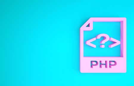 Pink PHP file document. Download php button icon isolated on blue background. PHP file symbol. Minimalism concept. 3d illustration 3D render