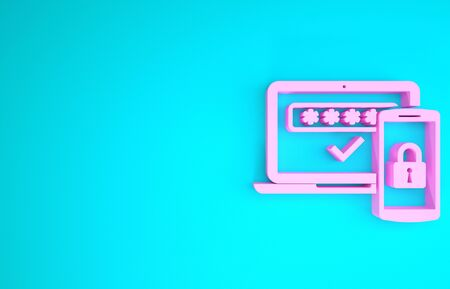 Pink Multi factor, two steps authentication icon isolated on blue background. Minimalism concept. 3d illustration 3D render Stok Fotoğraf - 133747312