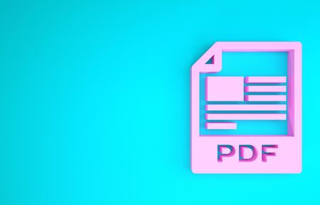 Pink PDF file document. Download pdf button icon isolated on blue background. PDF file symbol. Minimalism concept. 3d illustration 3D render