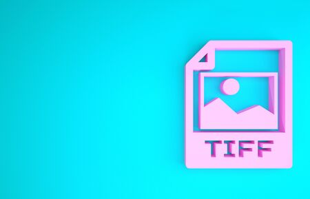 Pink TIFF file document. Download tiff button icon isolated on blue background. TIFF file symbol. Minimalism concept. 3d illustration 3D render