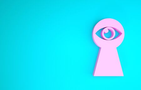 Pink Keyhole with eye icon isolated on blue background. The eye looks into the keyhole. Keyhole eye hole. Minimalism concept. 3d illustration 3D render