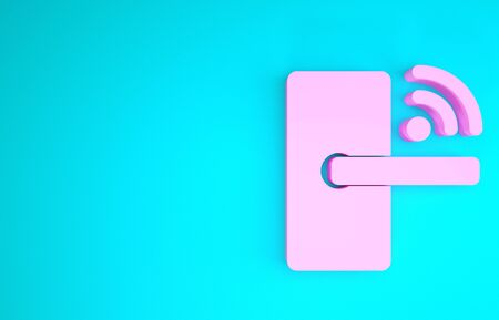 Pink Digital door lock with wireless technology for unlock icon isolated on blue background. Door handle sign. Security smart home. Minimalism concept. 3d illustration 3D render Stock Photo