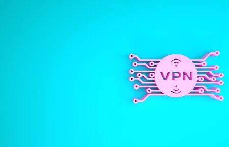 Pink VPN in circle with microchip circuit icon isolated on blue background. Minimalism concept. 3d illustration 3D render