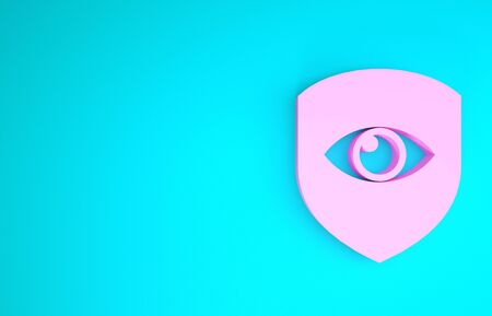Pink Shield and eye icon isolated on blue background. Security, safety, protection, privacy concept. Minimalism concept. 3d illustration 3D render