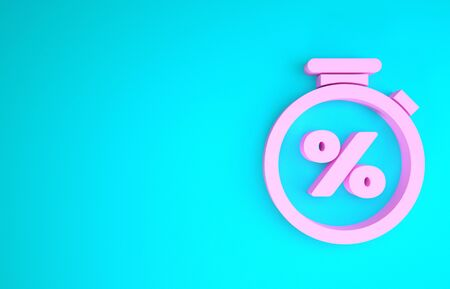 Pink Stopwatch and percent discount icon isolated on blue background. Time timer sign. Minimalism concept. 3d illustration 3D render