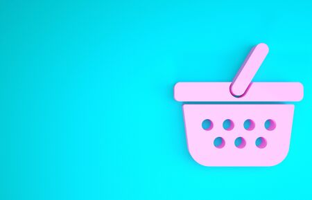 Pink Shopping basket icon isolated on blue background. Online buying concept. Delivery service sign. Shopping cart symbol. Minimalism concept. 3d illustration 3D render