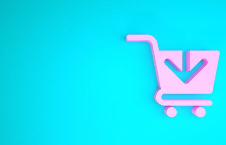 Pink Add to Shopping cart icon isolated on blue background. Online buying concept. Delivery service sign. Supermarket basket symbol. Minimalism concept. 3d illustration 3D render