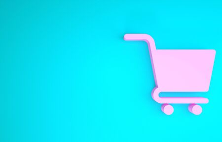 Pink Shopping cart icon isolated on blue background. Online buying concept. Delivery service sign. Supermarket basket symbol. Minimalism concept. 3d illustration 3D render Stock fotó