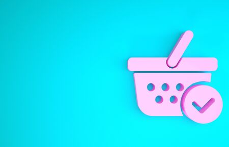 Pink Shopping basket with check mark icon isolated on blue background. Supermarket basket with approved, confirm, tick, completed symbol. Minimalism concept. 3d illustration 3D render