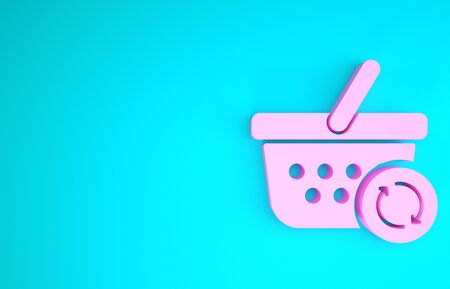 Pink Refresh shopping basket icon isolated on blue background. Online buying concept. Delivery service sign. Update supermarket basket. Minimalism concept. 3d illustration 3D render