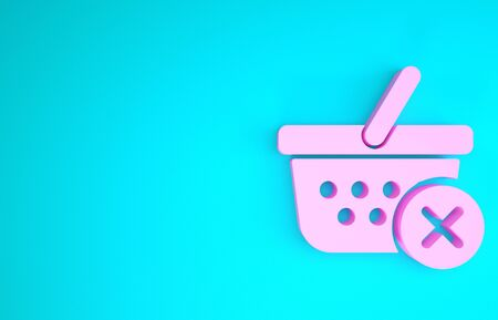 Pink Remove shopping basket icon isolated on blue background. Online buying concept. Delivery service sign. Supermarket basket and X mark. Minimalism concept. 3d illustration 3D render Stock fotó