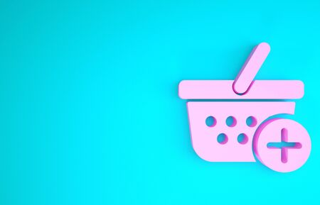 Pink Add to Shopping basket icon isolated on blue background. Online buying concept. Delivery service sign. Supermarket basket symbol. Minimalism concept. 3d illustration 3D render