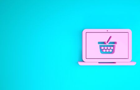 Pink Shopping basket on screen laptop icon isolated on blue background. Concept e-commerce, e-business, online business marketing. Minimalism concept. 3d illustration 3D render 스톡 콘텐츠