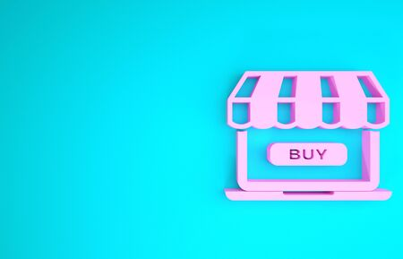 Pink Online shopping concept. Buy on screen laptop icon isolated on blue background. Concept e-commerce, online business marketing. Minimalism concept. 3d illustration 3D render