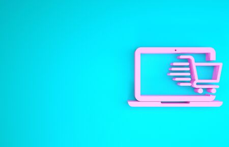 Pink Shopping cart on screen laptop icon isolated on blue background. Concept e-commerce, e-business, online business marketing. Minimalism concept. 3d illustration 3D render