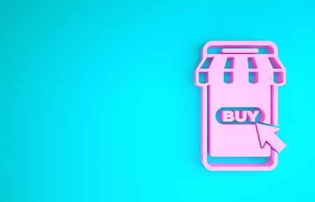 Pink Mobile phone and shopping cart with striped awning icon isolated on blue background. Online buying symbol. Supermarket basket symbol. Minimalism concept. 3d illustration 3D render