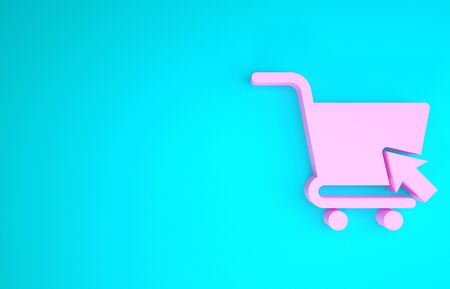 Pink Shopping cart with cursor icon isolated on blue background. Online buying concept. Delivery service sign. Supermarket basket symbol. Minimalism concept. 3d illustration 3D render
