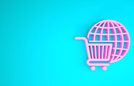Pink Shopping cart with globe icon isolated on blue background. Online buying concept. Global market concept. Supermarket basket symbol. Minimalism concept. 3d illustration 3D render
