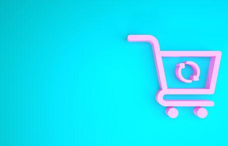 Pink Refresh shopping cart icon isolated on blue background. Online buying concept. Delivery service sign. Update supermarket basket symbol. Minimalism concept. 3d illustration 3D render