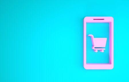 Pink Mobile phone and shopping cart icon isolated on blue background. Online buying symbol. Supermarket basket symbol. Minimalism concept. 3d illustration 3D render