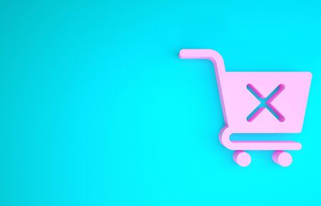 Pink Remove shopping cart icon isolated on blue background. Online buying concept. Delivery service sign. Supermarket basket and X mark. Minimalism concept. 3d illustration 3D render